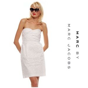 Marc by Marc Jacobs White Strapless Floral Dress
